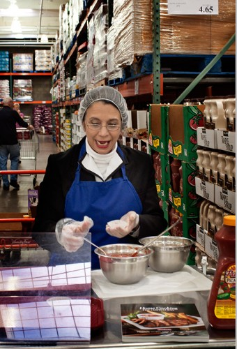 photograph of one of the sample ladies at costco with Pace Salsa