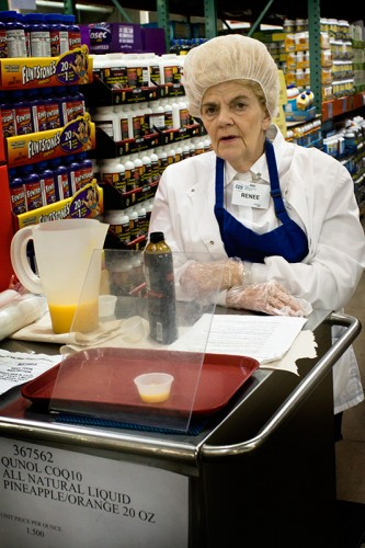 photograph of one of the sample ladies at costco